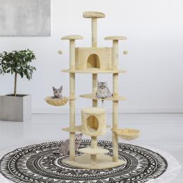 Pawhut Árbol Para Gatos Rascador Grande Con Nidos Plataformas Casetas Bolas de Juego Cubierto de Felpa Beige - 60X60X200Cm - Color: Beige