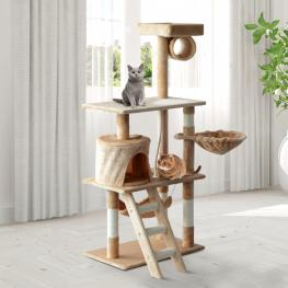 Pawhut® Árbol Para Gatos Rascador Grande Con Nidos Plataformas Beige 65X39X140Cm - Color: Beige
