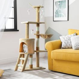 Pawhut® árbol Para Gatos Rascador Grande Con Nidos Plataformas Beige 40X30X131Cm<br> - Color: Beige