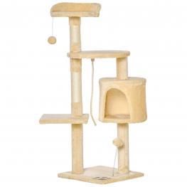Pawhut árbol Para Gatos Rascador Grande Con Plataformas Casetas Bolas de Juego 114Cm Cubierto de Felpa Beige  - Color: Beige