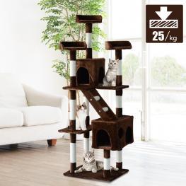Pawhut® árbol Rascador Alto Con Plataformas Casetas Escalera 182Cm Marrón<br> - Color: Marrón