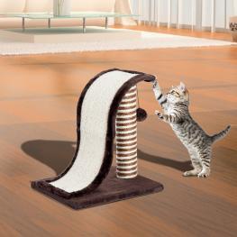 Pawhut Árbol Rascador Para Gatos Tipo Centro de Juegos Con Poste de Sisal Natural y Pelota Para Jugar y Arañar - Color Marrón y Crema €� 35 X 30 X 39Cm