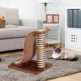 Pawhut Árbol Rascador Para Gatos Tipo Centro de Juegos Para Jugar y Arañar - Color Marrón Claro y Crema €� 35 X 30 X 39Cm - Color: Marrón Claro y Crema
