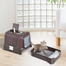 Pawhut® Arenero Gatos Cafe Plastico 54X42X41Cm<br> - Color: Color Cafe