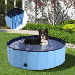 Pawhut Bañera Para Perros Gato  - Azul Pvc φ100X30Cm  - Color: Azul