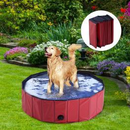 Pawhut® Bañera Para Perros Gatos Plegable Piscina Para Mascotas Natación Baño Φ100X30Cm Color Rojo - Color: Rojo
