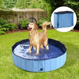Pawhut® Bañera Para Perros Gatos Plegable Piscina Para Mascotas Natación Baño Φ140X30Cm Color Azul - Color: Azul Celeste