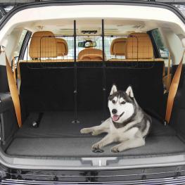 Pawhut Barrera Tipo Reja Separadora Universal de Protección Para Transporte de Perros En Maletero<br> - Negro<br> - Acero Antideslizante<br> - Color: