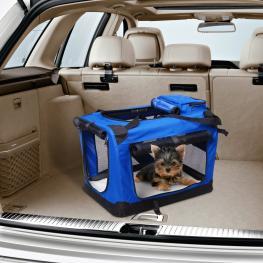 Pawhut® Bolsa de Transporte Perros Gatos Mascotas Viaje Tubo de Acero 4 Entradas 70X52X52Cm - Color: Azul y Negro
