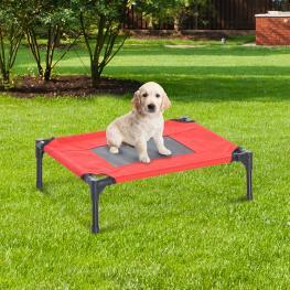 Pawhut® Cama Elevada Para Mascotas Perros Gatos Para Exterior Jardín Terraza - Color Rojo y Negro - Metal Tela Oxford Teslin - 64X46X18 Cm - Color: Ro