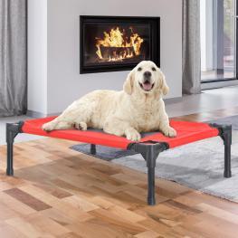 Pawhut Cama Para Mascotas Tela Gris 76X61X18Cm<br> - Color: Rojo