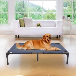 Pawhut Cama Para Mascotas Tipo Perro O Gato Para Exterior Terraza y Jardín - Azul - 91,5X76,2X18 Cm - Color: Azul