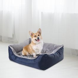Pawhut® Cama Para Perro Gato Lavable Almohada Felpa Extraíble Tela Oxford Durable 75X60X20Cm - Color: Azul y Gris
