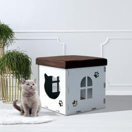 Pawhut® Casa de Gato Caseta Mascota Con Tapa Para Sentarse Carga 80Kg 40X40X40Cm - Color: Blanco y Marrón