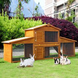 Pawhut Casa Para Conejos Con Rampa y Zona Abierta 215X63X100 Cm Madera  - Color: Amarillo