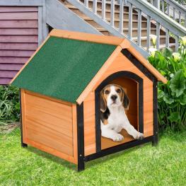 Pawhut Caseta de Madera Maciza Para Perro - Casa de Perro Impermeable Con Patas Elevadas Para Interior y Exterior -72X76X76Cm - Color: Madera Natural