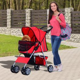 Pawhut Cochecito Paseo Mascotas Rojo Plegable 75X45X97Cm<br> - Color: Rojo