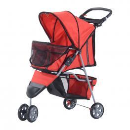 Pawhut Cochecito Plegable Para Mascotas Tipo Perro<br> - Color Rojo<br> - Material de Nylon<br> - 75X45X97Cm<br> - Color: Rojo