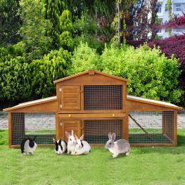 Pawhut® Conejera de Exterior Casa Para Animales 215X63X100Cm Madera  - Color: Madera
