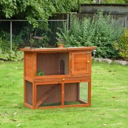 Pawhut Conejera Madera Jaula Para Conejos O Casa Para Animales Pequeños 90X45X80Cm área de Juego  - Color: Amarillo