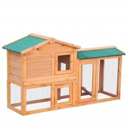 Pawhut Conejera Para Exterior Jaula de Conejos Centro de Actividades Con Cajón Extraíble Malla Galvanizada 145X46X85 Cm  - Color: Color Madera
