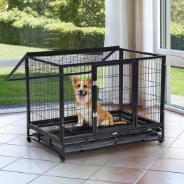 Pawhut Jaula de Metal Para Mascotas Tipo Perro Grande Con Ruedas y Bandeja Extraíble - 92X62X75Cm -