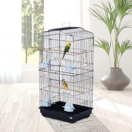 Pawhut® Jaula Para Pájaros Pajarera Para Pájaro Acero 47.5X36X91Cm - Color: Negro