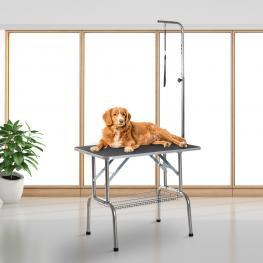Pawhut Mesa de Peluquería Para Mascotas<br> - Acero, Aluminio, Placa Antiarañazos y Caucho<br> - 90X60X75 Cm<br> - Color: Negro y Plata