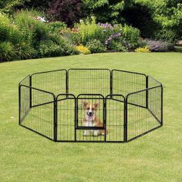 Pawhut® Parque Con Vallas Tipo Jaula Corral Para Mascotas Perros Gatos Negro 80 X 60 Cm<br> - Color: Negro