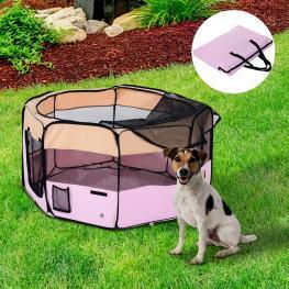 Pawhut Parque de Juego Para Mascotas Purpureo Negro y Rosa Acero Oxford 114 X 114 X 58Cm - Color: Rosa y Crema