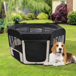 Pawhut Parque Mascotas Plegable 2 Medida Juego Entrenamiento Dormitorio Perro Cachorros - Color: Negro y Beige
