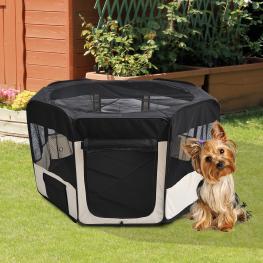 Pawhut Parque Mascotas Plegable 2 Medida Juego Entrenamiento Dormitorio Perro Cachorros<br> - Color: Negro y Beige