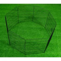 Pawhut® Parque Perros Jaula Plegable Mascotas Cerca Entrenamiento Cachorros 8 Vallas 71X122Cm  - Color: Negro