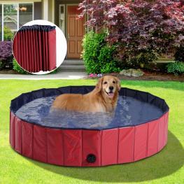 Pawhut Piscina Para Perros Mascotas Rojo Pvc φ140X30Cm<br> - Color: Rojo