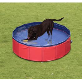 Pawhut Piscina Para Perros Plegable Rojo y Azul Oscuro Pvc Pet Tablones φ160X 30Cm<br> - Color: Rojo