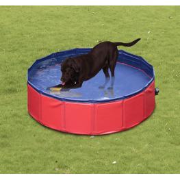 Pawhut Piscina Para Perros Plegable Rojo y Azul Oscuro Pvc Pet Tablones Φ160X 30Cm - Color: Rojo