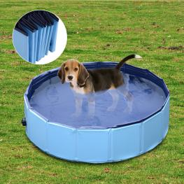 Pawhut Piscina Rígida Tipo Bañera Plegable Para Perros Gatos Mascotas Animales - Color Azul Cielo y Azul Oscuro - Pvc Pet Tablones - Φ80X 20 Cm - Colo