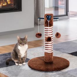 Pawhut® Poste Rascador Para Gato Para Arañar 3 Bolas de Juego Marrón 34X34X42Cm - Color: Marrón