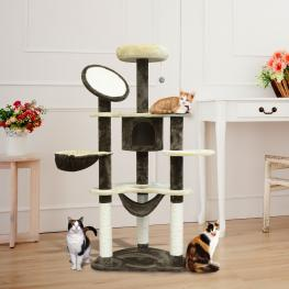 Pawhut® Rascador Gato Arbol Poste Para Arañar Centro Actividades Altura 153X65X50Cm<br> - Color: Crema y Cafe