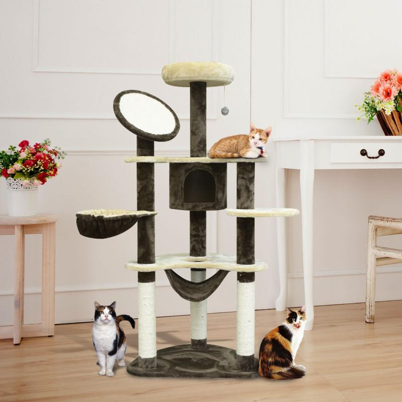 Pawhut® Rascador Gato Arbol Poste Para Arañar Centro Actividades Altura 153X65X50Cm, Color: Crema y Cafe