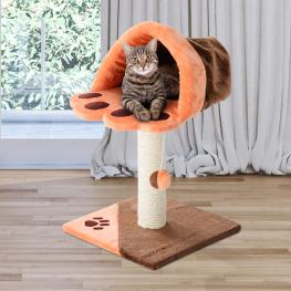 Pawhut Rascador Gato Naranja y Marrón Felpa 40X40X67Cm<br> - Color: No