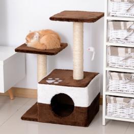 Pawhut® Rascador Para Gatos árbol Rascador Centro de Actividad Plataformas Caseta Ratón de Juguete 45X33X70Cm<br> - Color: Marrón