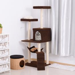 Pawhut® Rascador Para Gatos Árbol Rascador Grande Centro de Actividad Plataformas 73X58X150Cm - Color: Marrón