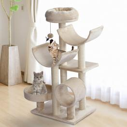 Pawhut® Rascador Para Gatos árbol Rascador Grande Plataformas Tubo de Juego Bola de Juego 50X40X105Cm<br> - Color: Beige