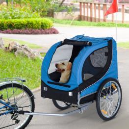 Pawhut® Remolque Bicicleta Perro Mascota 130X90X110Cm 1 Bandera 6 Reflectores Bici - Color: Azul y Negro