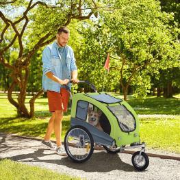 Pawhut Remolque Bicicleta Perros Carro Cochecito Para Transporte Mascota 2 En 1 Con Barra de Paseo Amortiguador Rueda Giratoria 360° Reflectores Carga