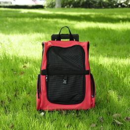 Pawhut Transportín 2 En 1 Para Perros Gatos y Mascotas - Color Negro y Rojo - 35X27X49 Cm (An X P X Al) - Color: Rojo y Negro