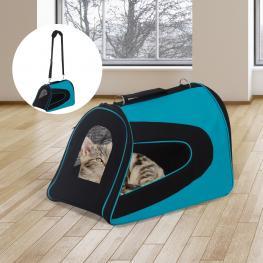 Pawhut® Transportin Perro Gato Mascotas Bolsa de Viaje Asas y Correa Ajustable Nuevo<br> - Color: Azul y Negro