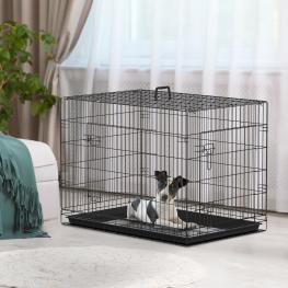 Pawhut® Transportines Para Perros Negro Abs Acero 91X61X67Cm<br> - Color: Negro