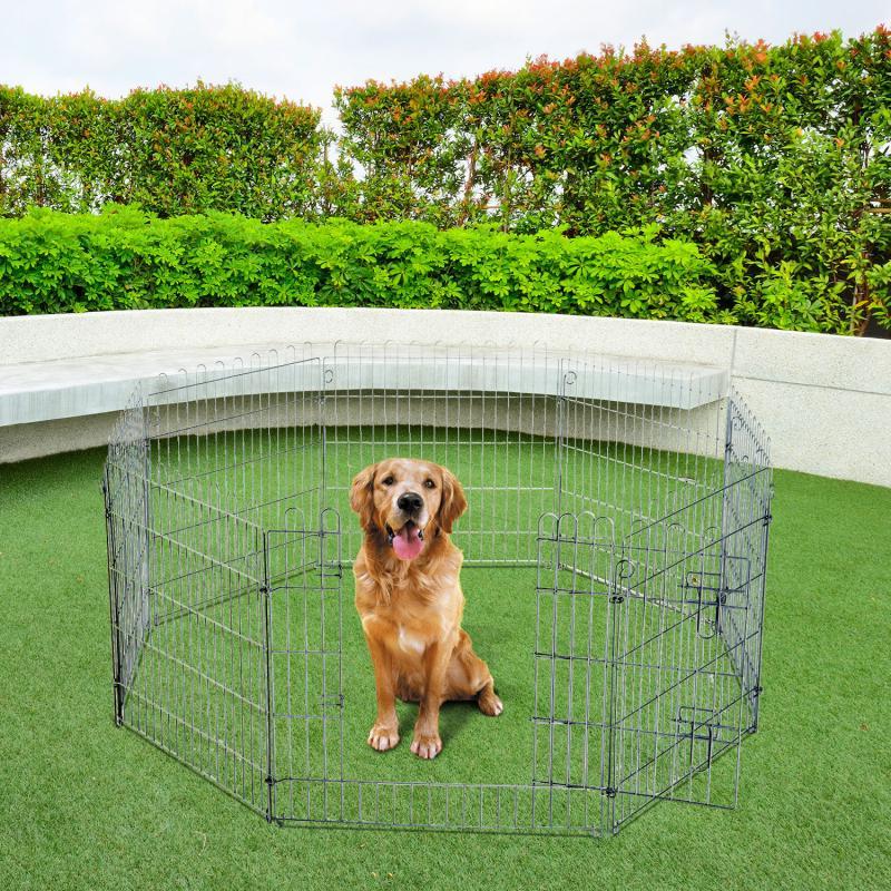 Pawhut® Valla Para Perros Parque Para Cachorros Animales Rejilla 63X91 Cm - Color: Plateado